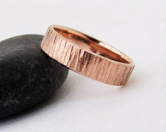 Rustic Bark Wedding Band Rose Gold Wedding Ring Unique Wedding Rings Mens Wedding Bands Custom Personalized Wedding Bands Gift for Him