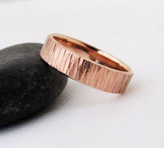 rose gold wedding band mens wedding ring rustic wedding bands unique wedding rings bark textured mens - Mens Rose Gold Wedding Rings