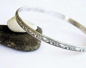 Solid Sterling Bangle Bracelet - Art Deco Lilies -  Sterling Bracelet - Stacking Bracelet - Vintage Look Bangle