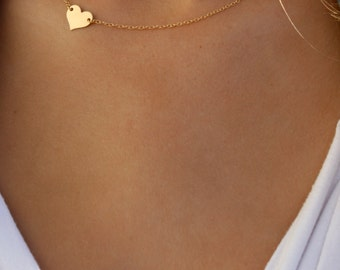 Small Heart Necklace / Sideways Heart Necklace / Delicate Gold Filled Heart / Gold heart / Side Heart Necklace / Off Centered Gold Heart