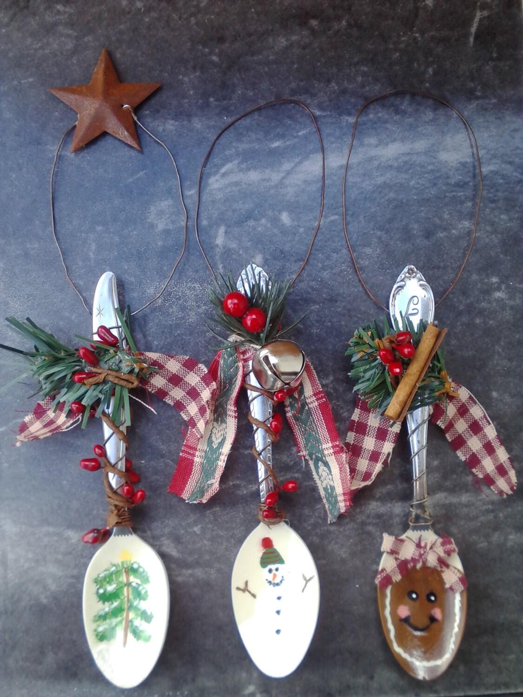 Hand painted Christmas ornaments. Hand painted teaspoon