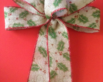 Christmas Burlap Bows / Burlap Holly Berries Pattern Bows / Christmas Tree Bows / set of 8 Bows / Handmade and Design in Burlap Wired Ribbon