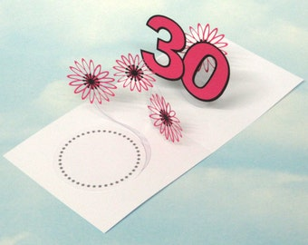 30th Birthday Card Flowers Spiral Pop Up 3D - Pink Flowers