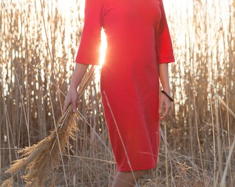 Boatneck Dress - Hemp and Organic Cotton Jersey 3/4 Sleeves Classic