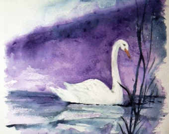 "Swan painting original watercolor 11x15  - ""Swan at night"" - blue and purple art - swan art - wildlife painting - original watercolor -"
