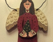 Rustic Hand-painted Wooden Tole-painted Angel Ornament