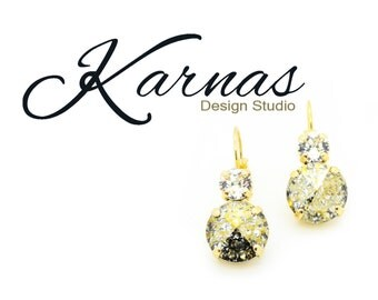 GOLDEN GODDESS Drop Earrings Gold Patina Swarovski 12mm/6mm Stones *Pick Your Metal *Karnas Design Studio *Free Shipping*