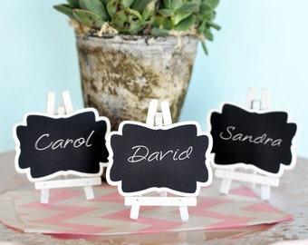 Chalkboard Place Cards - Mini ChalkBoard Framed Chalkboard - Rustic Wedding Favor - Chalkboard Wedding Favor with Easel (EB2372) - 24| pcs