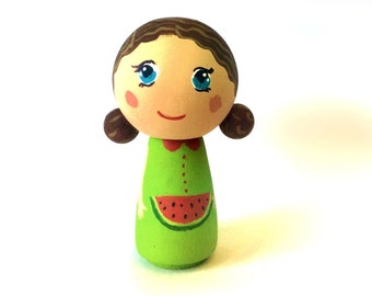 Dollhouse Doll, Kokeshi Doll, Kokeshi Peg Doll, Gifts for Kids, Little Girl Dolls, Waldorf Doll, Miniature Figurine, OOAK Collectible Dolls