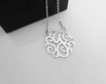 "1.25"" Monogram Name Necklace Sterling Silver 925 Personalized Jewelry"