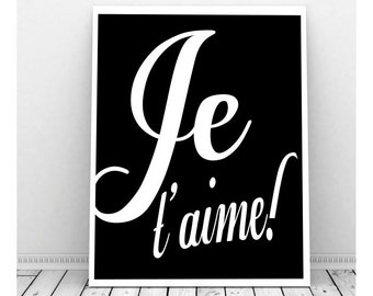 Je t'aime French Art, Instant Download Art, French Phrases, Love Art, Couples Art, Romantic Art, Printable Words, Wall Decor, I Love You