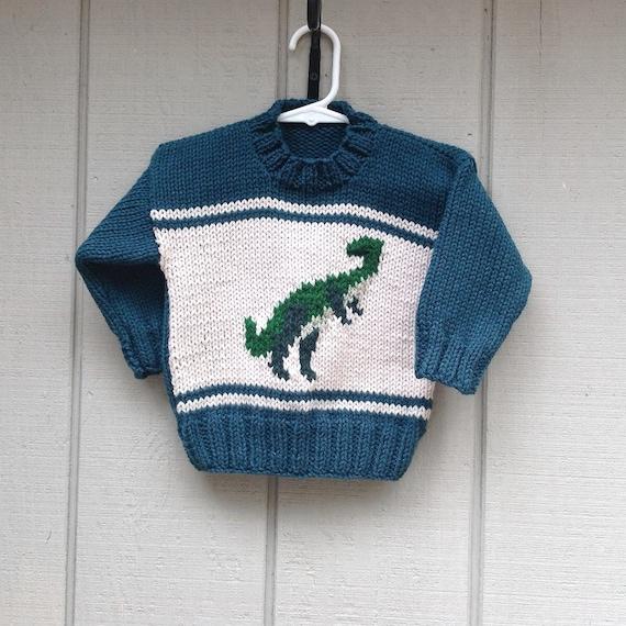Dinosaur sweater 4 years Kids knit dinosaur jumper Kids