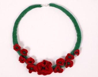 Felted Flower Necklace Red Green Poppy Folk Boho eco, gift for her