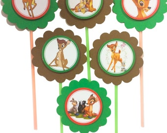 Bambi from Disney cupcake toppers - Set of 12
