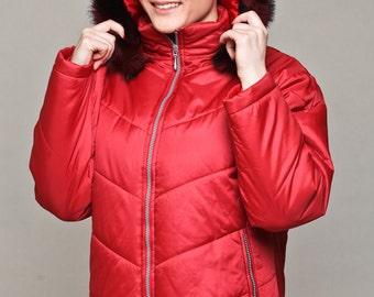 Puffer jacket / short jacket / coat with hood / winter coat with detachable hood / faux fur hood / red coat