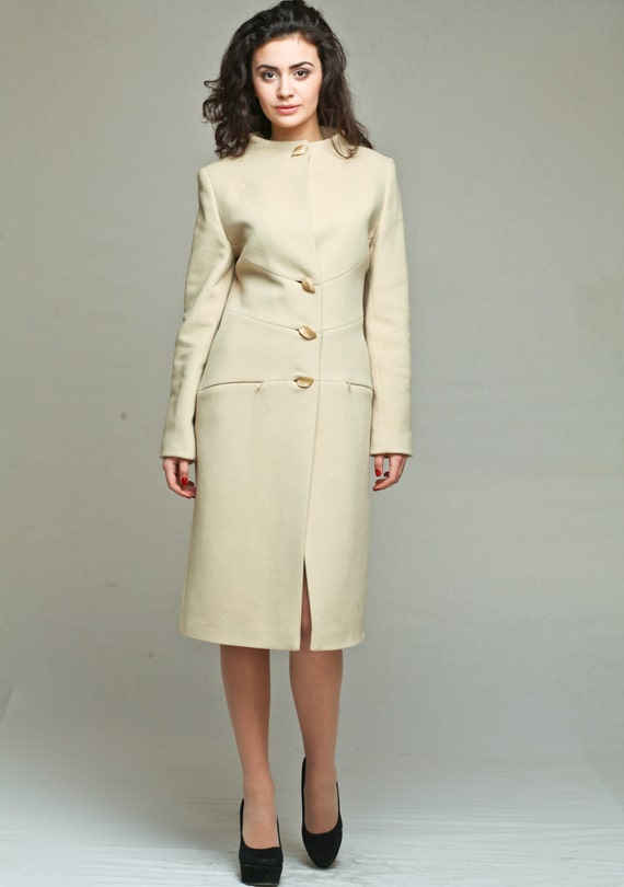 Cream womens long winter coat / cream cashmere coat / womens