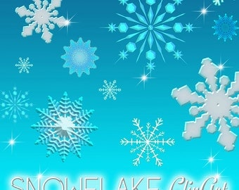 Snowflake Clipart, Snow Clipart, Frozen Clipart, DIY Frozen Invitations, PNG Snowflakes in 5 colors
