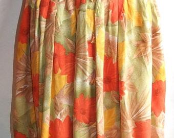 Vintage Mod Hop Skirt High Waisted Pleated A Line, novelty skirt, Boho skirt, Bohemian skirt Hippie tropical skirt Flowery skirt, Midi skirt