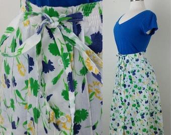 60s Wrap Skirt Carnation Print Cotton Blend Floral Tie Waist M/L