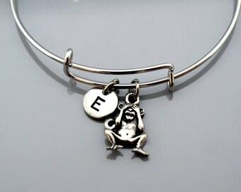 See no evil monkey, Three Monkeys bracelet, three wise monkeys, 3 monkeys, Expandable bangle, Personalized, Monogram, Initial bracelet