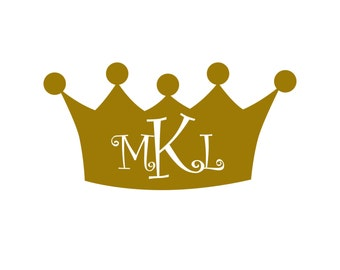 Crown Monogram Vinyl Decal Icon - 1 color - Choose from 14 colors in various sizes and fonts
