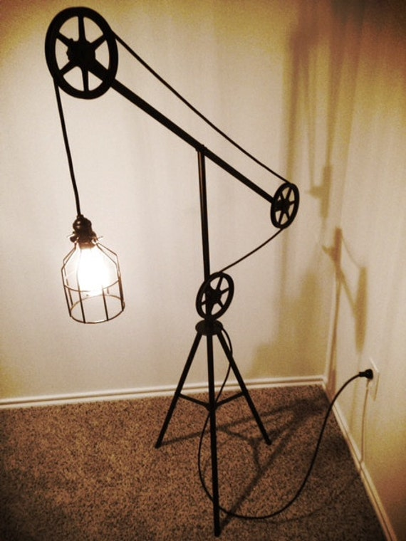 Items Similar To Industrial Style Pulley Floor Lamp On Etsy