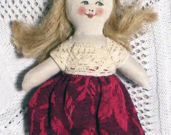 natural miniature doll - 2 - bambola miniatura naturale - vintage style doll