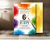 Art Palette Birthday Party Invitation - Printed OR Digital File - by peanutPRINTS