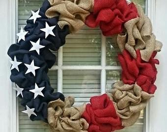 Patriotic Burlap Wreath