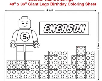"""Custom Printable Giant Building Block Birthday Coloring Sheet 48"""" x 36"""" / Birthday Sign / Party Decoration"""