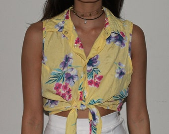 90's 'Sostaza' Hawaiian print Tie up Crop Top