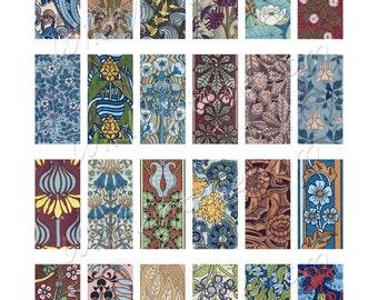 Art Nouveau Flowers 2 - 1x2 Collage Sheet - Instant Download