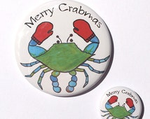 Merry Crabmas or Christmas magnet, pin, or pocket mirror - funny Maryland blue crab with mittens, happy holidays humor, Chesapeake Bay art