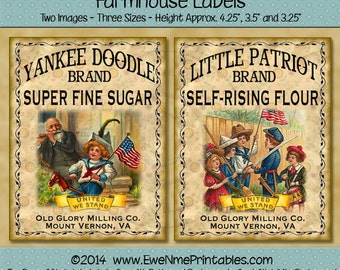 Patriotic Labels -  Little Patriot Flour or Yankee Doodle Sugar Printable Farmhouse Labels - Rustic Primitive Style Digital PDF or JPG File