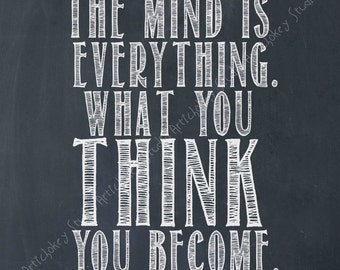 The Mind Is Everything - Instant Download for Canvas and Paper Printing - Navy Blue Tinted Blackboard