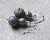 Saturns Rings - Druzy Earrings, purple titanium Druzy/Drusy, Gift for Her