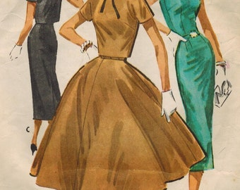 1950s McCall's 3899 Vintage Sewing Pattern Misses Dress and Cropped Jacket Size 16 Bust 36