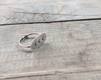 Chevron ring -Adjustable ring -Geometric Sterling silver chevron Ring-Dainty ring -Gift under 40