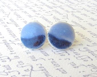 Medium Porcelain Earrings. Blue-on-Blue Rounds. Cornflower. Denim. Periwinkle. Post or Stud Earrings. Surgical Steel. Minimalist