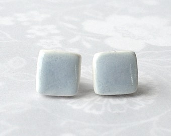 Small Light Blue Earrings. Squares. Pale Blue. Blue-Gray. Alice Blue. Ice Blue. Minimalist. Studs. Simple. Surgical Steel. Mini's. Cubes