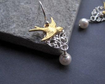 Gold Bird Earrings - Gold Bird Pearl Earrings  - Nature Inspired Earrings - Vintage Inspired - Wedding - Simple - Delicate - Dainty