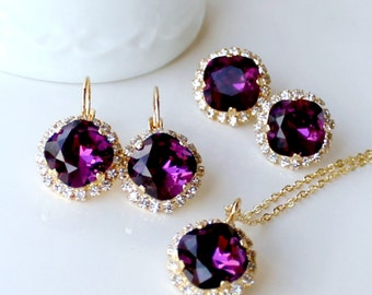 Swarovski Amethyst Crystal Halo Pendant on a Gold or Silver Chain With Matching Halo Earrings