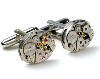 Vintage Elgin Watch Movement Steampunk Cuff Links