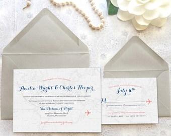 World Traveler Map Destination Wedding Invitations - Aviation Wedding - Travel Wedding - Airplane Wedding - World Map Wedding
