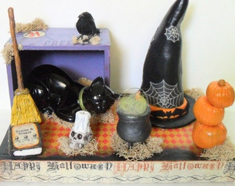 Halloween Witch Diorama - Halloween Center Piece - Table Top Halloween Decor - Witch Hat - Pumpkins - Cauldron