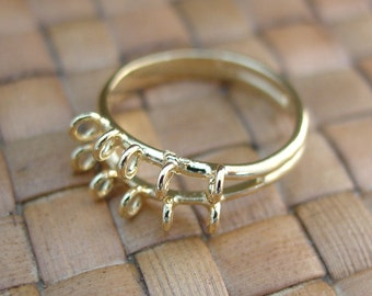 SALE:  6 pcs 10 Loop Gold Plated Brass Adjustable Ring Bases - 25% Off