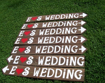 directional wedding signs / handpainted signs / wedding Decorations / wedding Signage / beach signs / personalized signs / custom signs