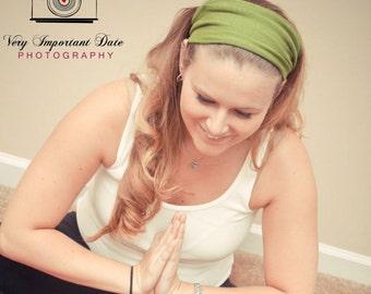 Yoga Headband, Jersey Knit Headband, Girlfriend Gift, Grass Green Headband, Green Adult Headband (#1004) S M L X