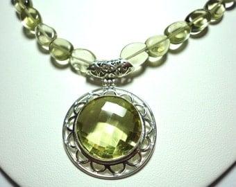 Lemon Quartz Necklace Lemon Quartz Pendant with Lemon Quartz Beads Necklace with Sterling Silver