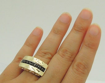 Black diamond ring hammered gold silver wide ring scroll design
